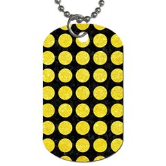 Circles1 Black Marble & Gold Glitter Dog Tag (two Sides)