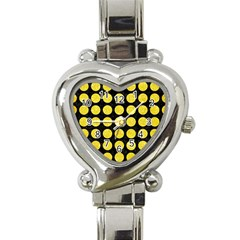 Circles1 Black Marble & Gold Glitter Heart Italian Charm Watch