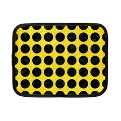 Circles1 Black Marble & Gold Glitter (r) Netbook Case (small)