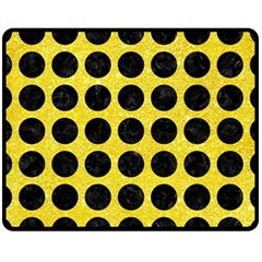 Circles1 Black Marble & Gold Glitter (r) Fleece Blanket (medium)