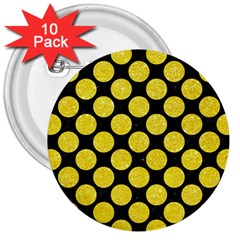 Circles2 Black Marble & Gold Glitter 3  Buttons (10 Pack)