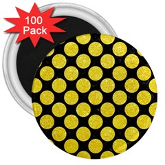 Circles2 Black Marble & Gold Glitter 3  Magnets (100 Pack)