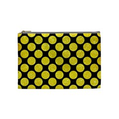 Circles2 Black Marble & Gold Glitter Cosmetic Bag (medium)
