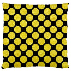 Circles2 Black Marble & Gold Glitter Large Cushion Case (two Sides)