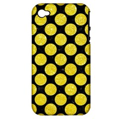 Circles2 Black Marble & Gold Glitter Apple Iphone 4/4s Hardshell Case (pc+silicone)