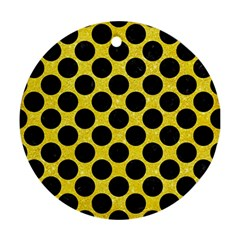 Circles2 Black Marble & Gold Glitter (r) Ornament (round)