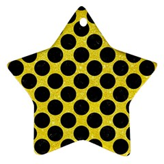Circles2 Black Marble & Gold Glitter (r) Star Ornament (two Sides)