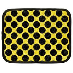 Circles2 Black Marble & Gold Glitter (r) Netbook Case (large)