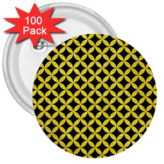 Circles3 Black Marble & Gold Glitter 3  Buttons (100 Pack)