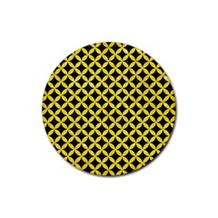 Circles3 Black Marble & Gold Glitter Rubber Coaster (round)