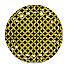 Circles3 Black Marble & Gold Glitter Round Filigree Ornament (two Sides)