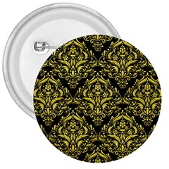 Damask1 Black Marble & Gold Glitter 3  Buttons