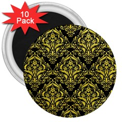Damask1 Black Marble & Gold Glitter 3  Magnets (10 Pack)