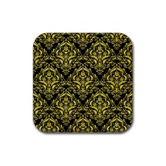 Damask1 Black Marble & Gold Glitter Rubber Coaster (square)