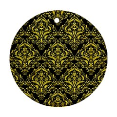 Damask1 Black Marble & Gold Glitter Round Ornament (two Sides)