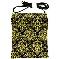 Damask1 Black Marble & Gold Glitter Shoulder Sling Bags