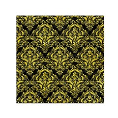 Damask1 Black Marble & Gold Glitter Small Satin Scarf (square)