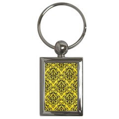 Damask1 Black Marble & Gold Glitter (r) Key Chains (rectangle)
