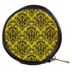 Damask1 Black Marble & Gold Glitter (r) Mini Makeup Bags