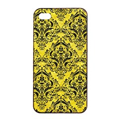 Damask1 Black Marble & Gold Glitter (r) Apple Iphone 4/4s Seamless Case (black)