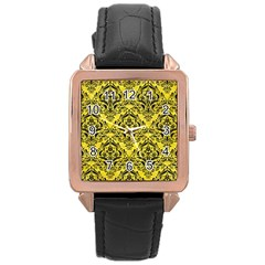 Damask1 Black Marble & Gold Glitter (r) Rose Gold Leather Watch