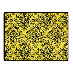 Damask1 Black Marble & Gold Glitter (r) Double Sided Fleece Blanket (small)