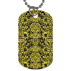 Damask2 Black Marble & Gold Glitter Dog Tag (one Side)