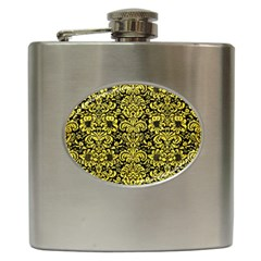 Damask2 Black Marble & Gold Glitter Hip Flask (6 Oz)