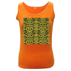 Damask2 Black Marble & Gold Glitter Women s Dark Tank Top