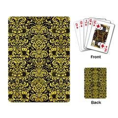 Damask2 Black Marble & Gold Glitter Playing Card