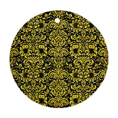 Damask2 Black Marble & Gold Glitter Round Ornament (two Sides)