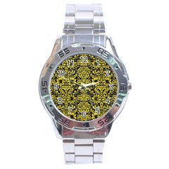 Damask2 Black Marble & Gold Glitter Stainless Steel Analogue Watch