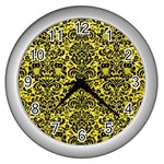 DAMASK2 BLACK MARBLE & GOLD GLITTER (R) Wall Clocks (Silver)  Front