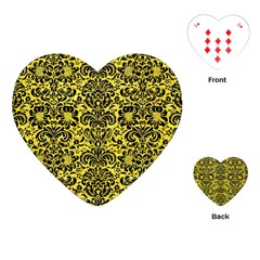 Damask2 Black Marble & Gold Glitter (r) Playing Cards (heart)