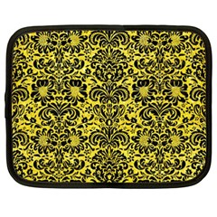 Damask2 Black Marble & Gold Glitter (r) Netbook Case (xxl)