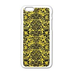 Damask2 Black Marble & Gold Glitter (r) Apple Iphone 6/6s White Enamel Case