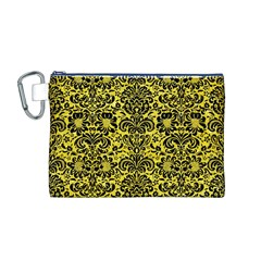 Damask2 Black Marble & Gold Glitter (r) Canvas Cosmetic Bag (m)