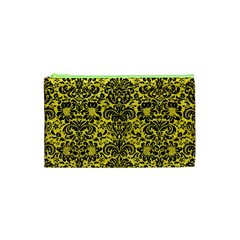 Damask2 Black Marble & Gold Glitter (r) Cosmetic Bag (xs)