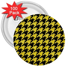 Houndstooth1 Black Marble & Gold Glitter 3  Buttons (100 Pack)
