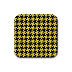 Houndstooth1 Black Marble & Gold Glitter Rubber Square Coaster (4 Pack)