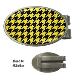 Houndstooth1 Black Marble & Gold Glitter Money Clips (oval)