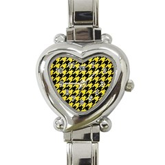Houndstooth1 Black Marble & Gold Glitter Heart Italian Charm Watch
