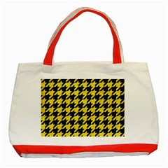 Houndstooth1 Black Marble & Gold Glitter Classic Tote Bag (red)