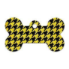 Houndstooth1 Black Marble & Gold Glitter Dog Tag Bone (two Sides)