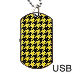 Houndstooth1 Black Marble & Gold Glitter Dog Tag Usb Flash (two Sides)