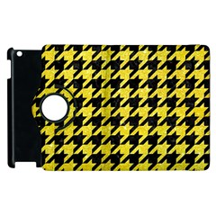 Houndstooth1 Black Marble & Gold Glitter Apple Ipad 2 Flip 360 Case