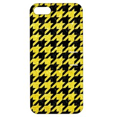 Houndstooth1 Black Marble & Gold Glitter Apple Iphone 5 Hardshell Case With Stand