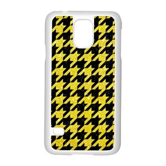 Houndstooth1 Black Marble & Gold Glitter Samsung Galaxy S5 Case (white)