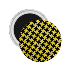 Houndstooth2 Black Marble & Gold Glitter 2 25  Magnets