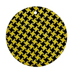 Houndstooth2 Black Marble & Gold Glitter Ornament (round)